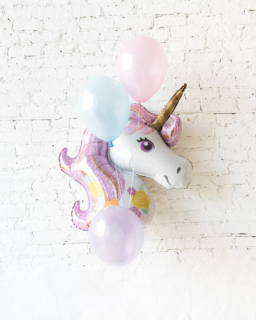Unicorn Theme Foil and 11in Balloons - bouquet of 4