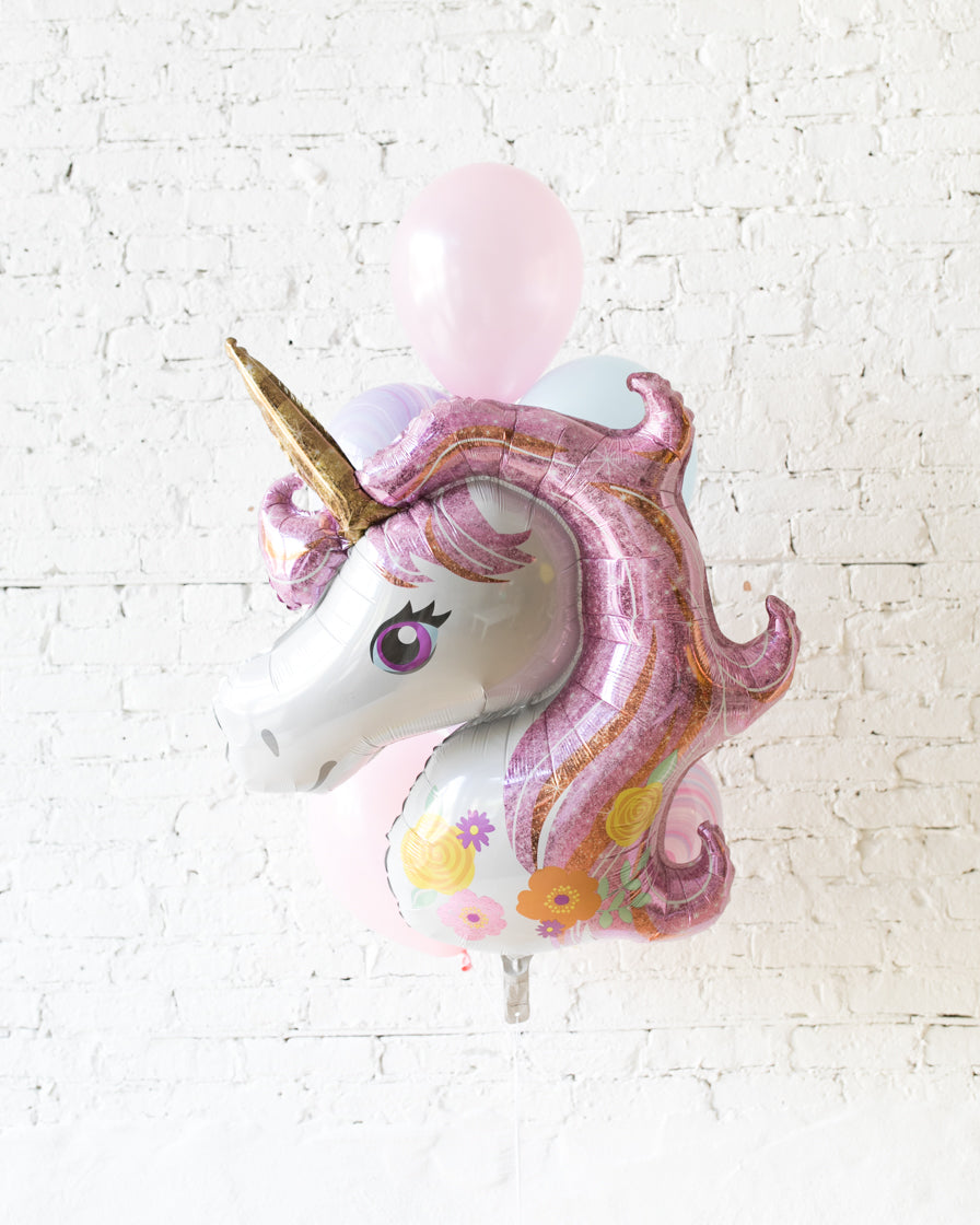Unicorn Theme - Foil and 11in Balloons - bouquet of 7