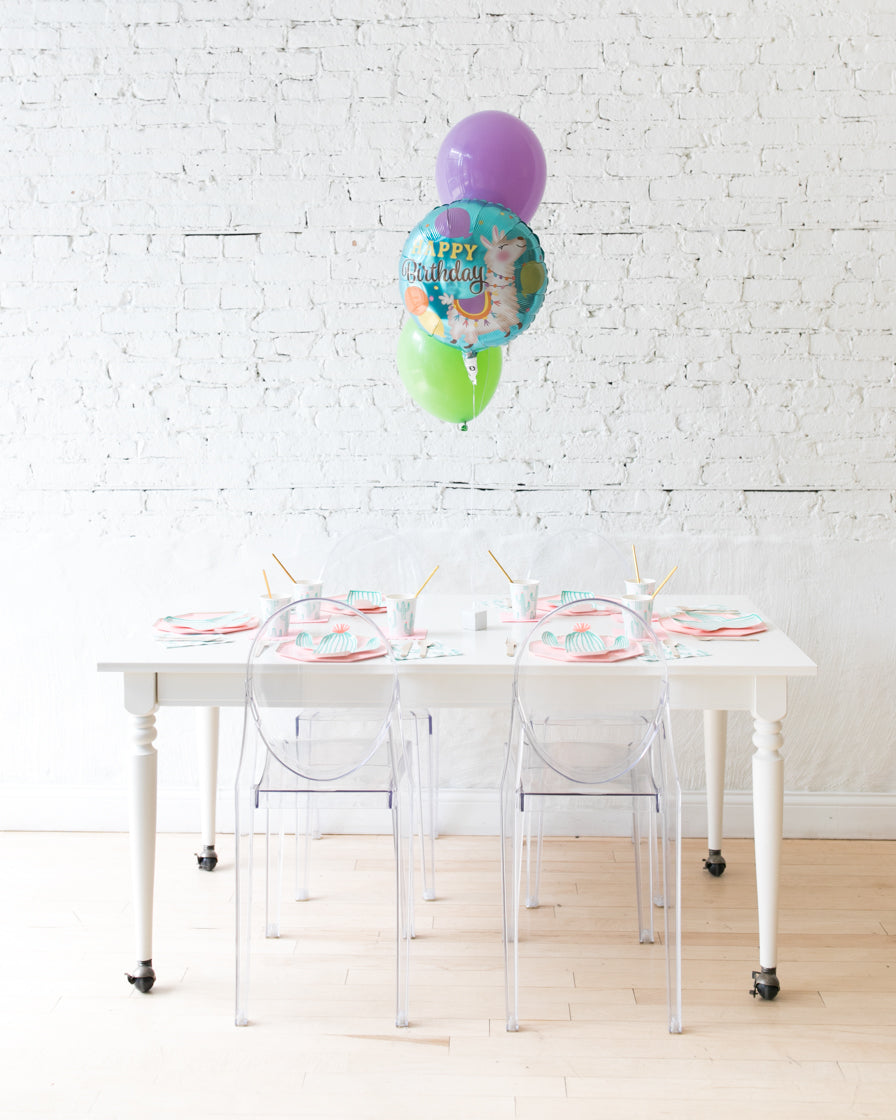 Fiesta Theme - Happy Birthday and 11in Balloons Centerpiece - bouquet of 3