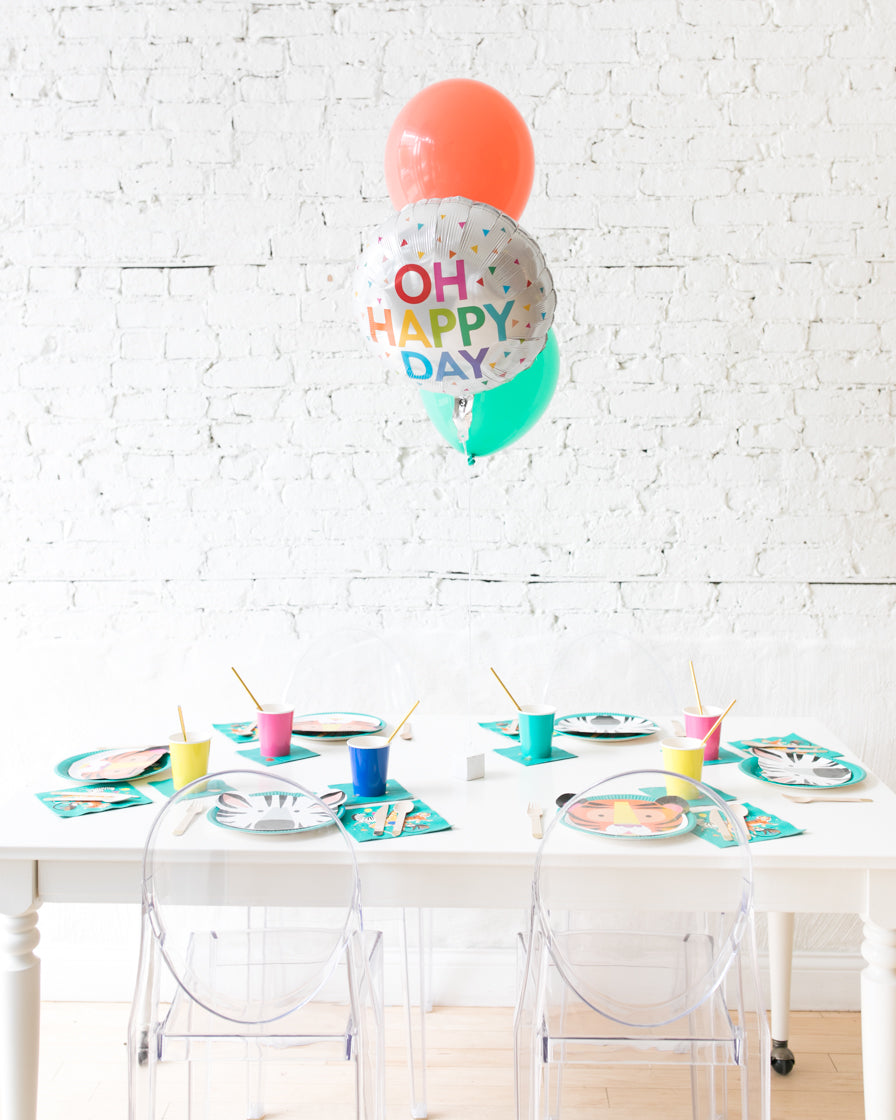 Party Animal Theme - OH HAPPY DAY and 11in Balloons Centerpiece - bouquet of 3