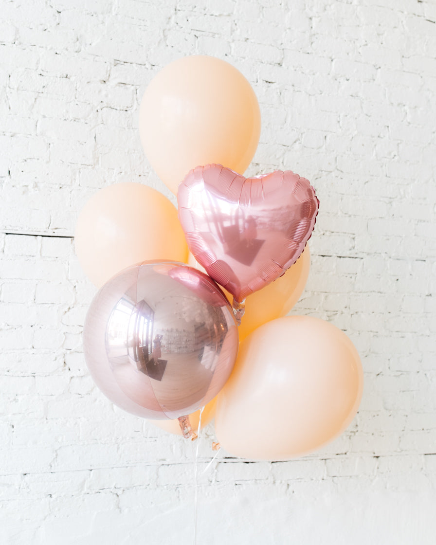 GIFT-Blush 16in, Rose Gold and Pink Heart Balloons - bouquet of 7