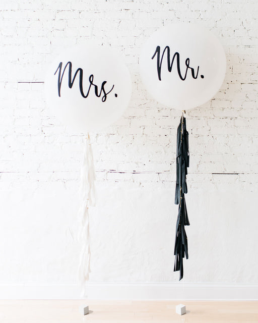 MR & MRS Giant Balloon and Tassel Set