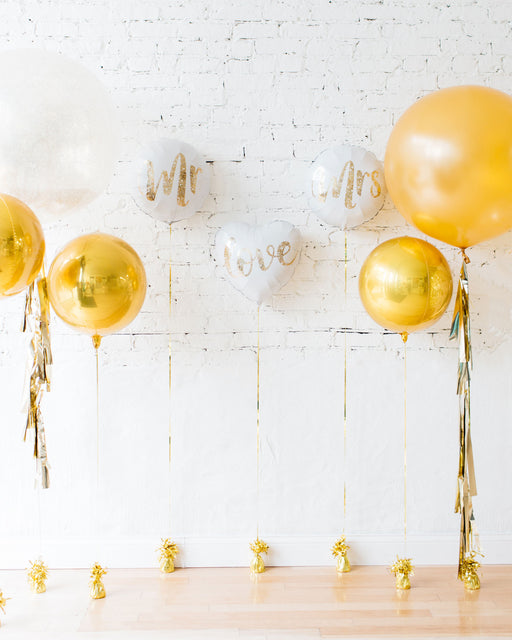 Gold & White MR & MRS Individual Balloons Backdrop