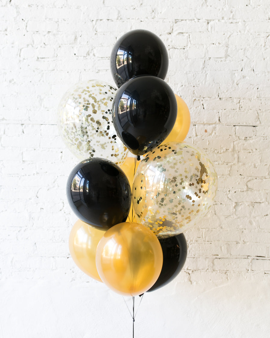 New Year's Eve - Confetti and 11in Balloons - bouquet of 10