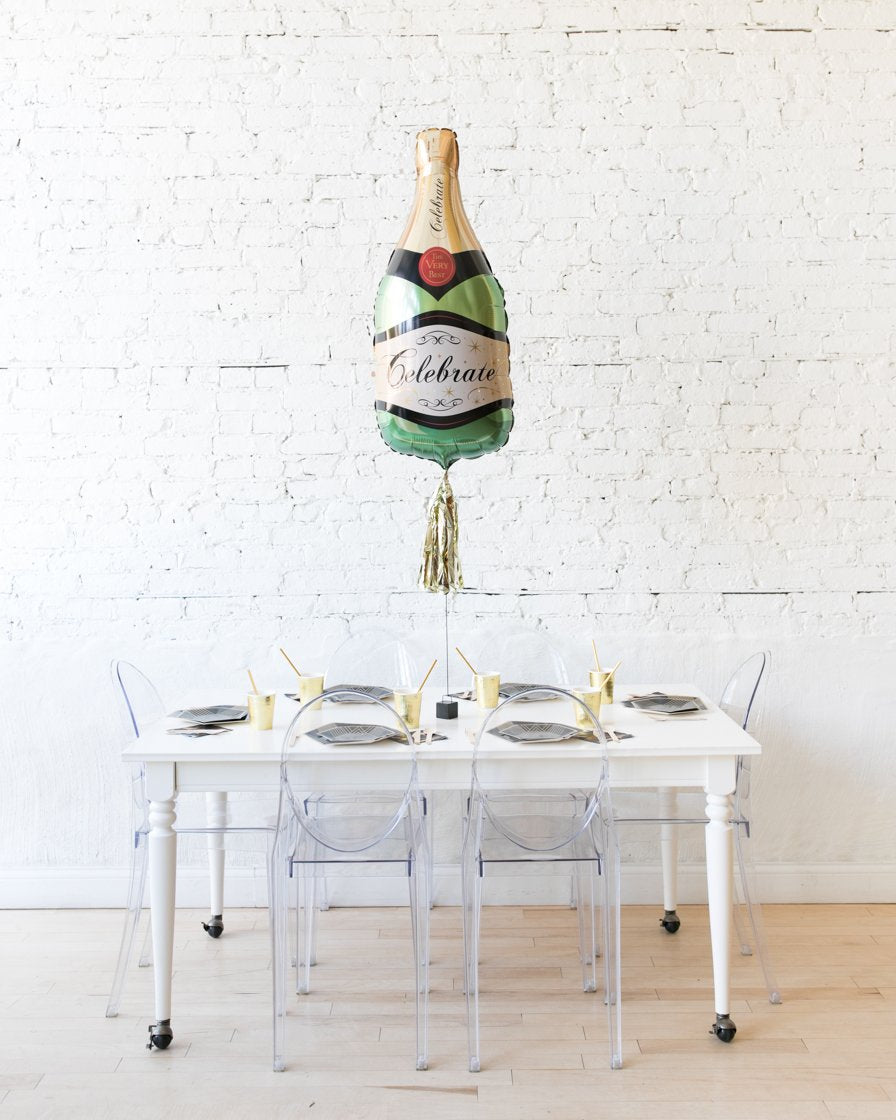 39in Classic Champagne Bottle Foil Balloon and Gold Skirt Centerpiece