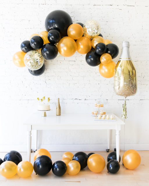 New Year's Eve - Floating Arch, Gold Champagne Bottle and Floor Balloon Set