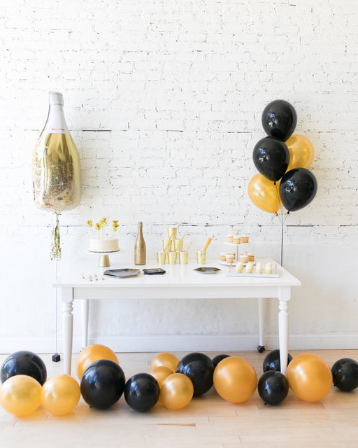 New Year's Eve - Gold Champagne Bottle, Bouquet and Floor Balloon Set