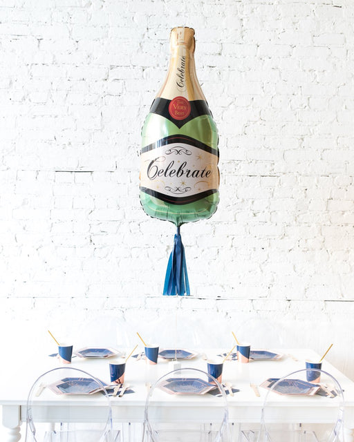 39in Classic Champagne Bottle Foil Balloon and Navy Skirt Centerpiece