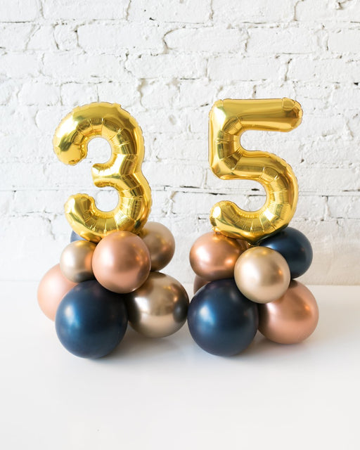 Custom Gold, Navy and Copper Palette Foil Number and Balloon Base