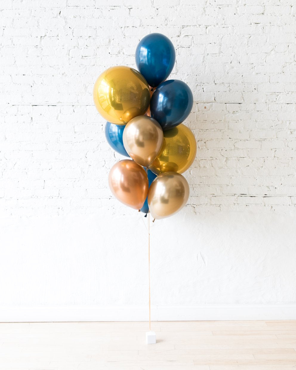 Gold, Navy and Copper Palette Orbs and 11in Balloons - bouquet of 10