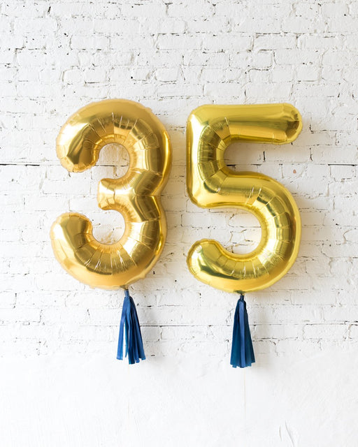 34in Gold Foil Numbers with Navy skirt