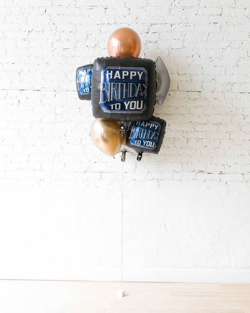 Gold, Navy and Copper Palette Happy Birthday To You Foil Set and 11in balloons - bouquet of 6