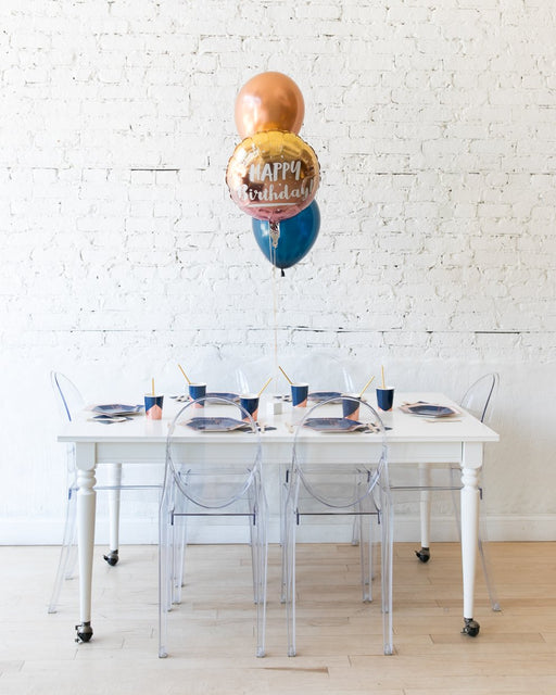 Midnight Copper - Happy Birthday Foil and 11in Balloons Centerpiece - bouquet of 3