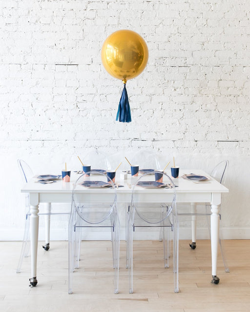16in Gold Orb Foil Balloon and Navy Skirt Centerpiece