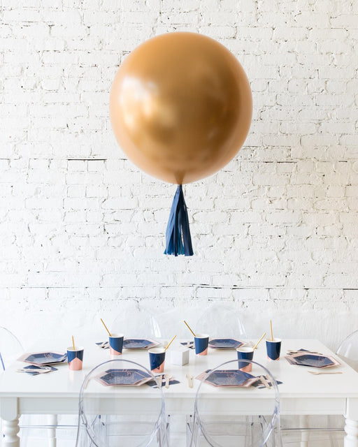 Brass Gold Giant Balloon and Navy Skirt Centerpiece