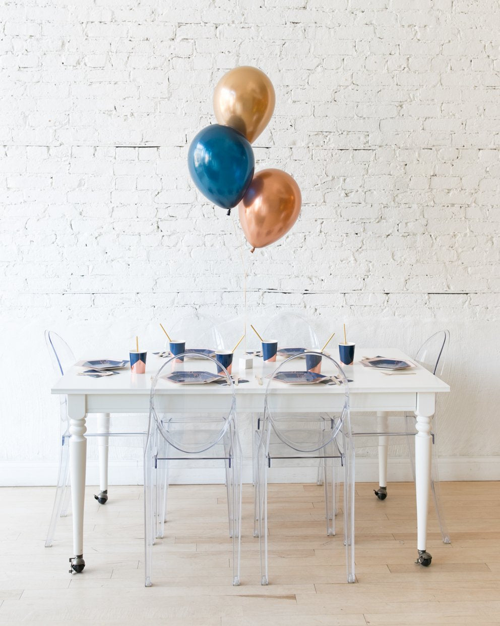 Gold, Navy and Copper Palette 11in Balloons Centerpiece - bouquet of 3