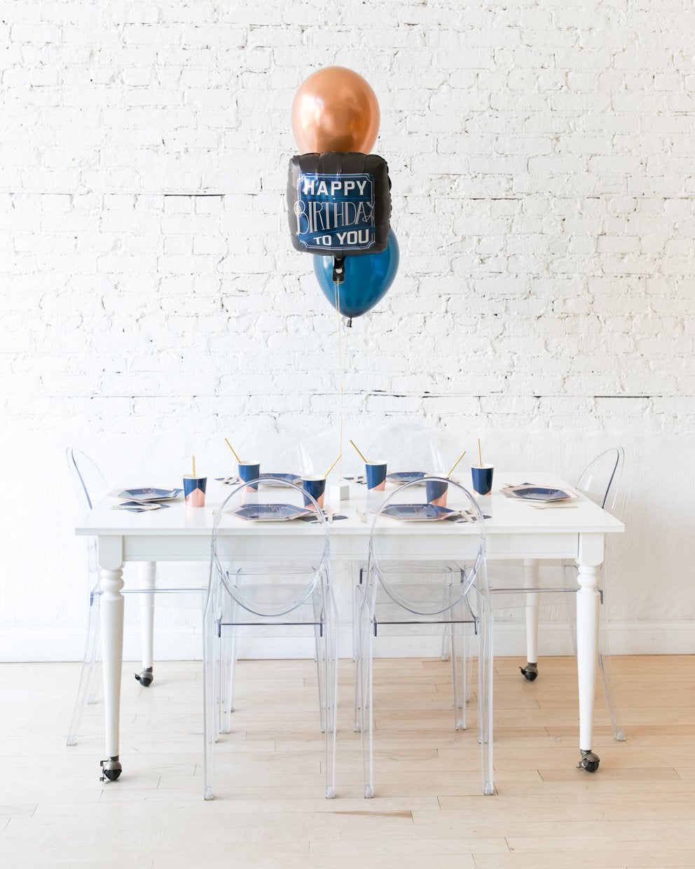 Navy and Copper Palette Happy Birthday To You Foil and 11in Balloons Centerpiece - bouquet of 3