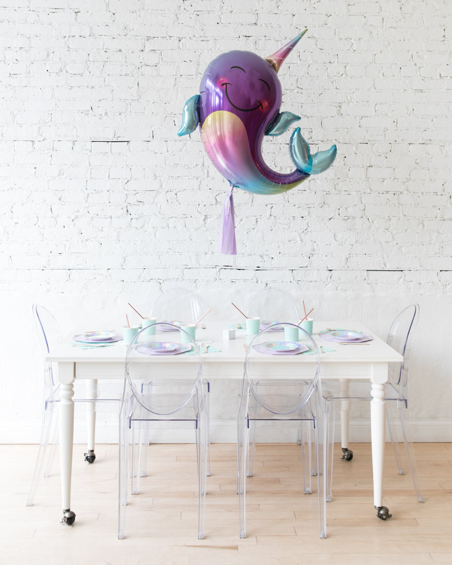40in Narwhal Foil Balloon and Lilac Skirt Centerpiece