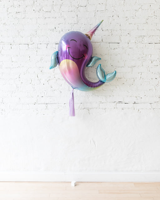 40in Narwhal Foil Balloon and lilac Skirt