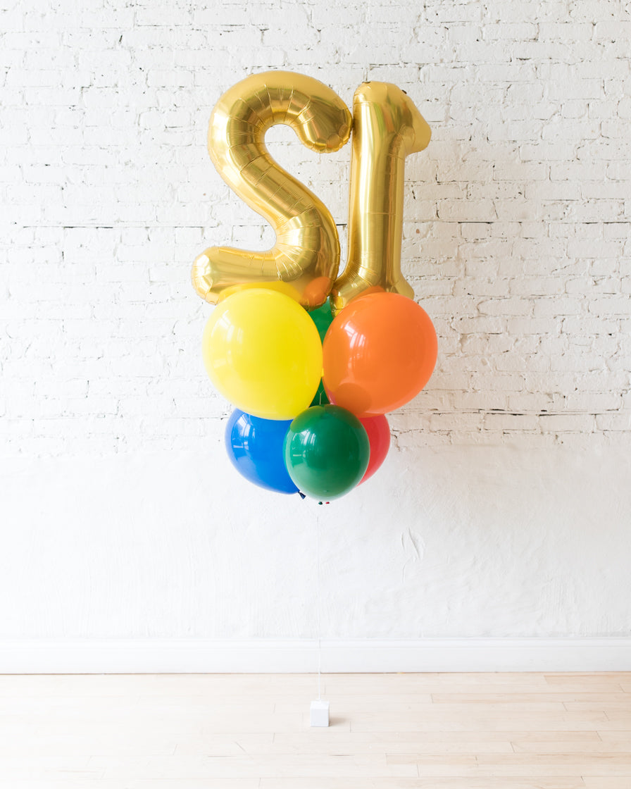 Sesame Street Theme - Double Digit Foil and Latex Balloons - bouquet of 8