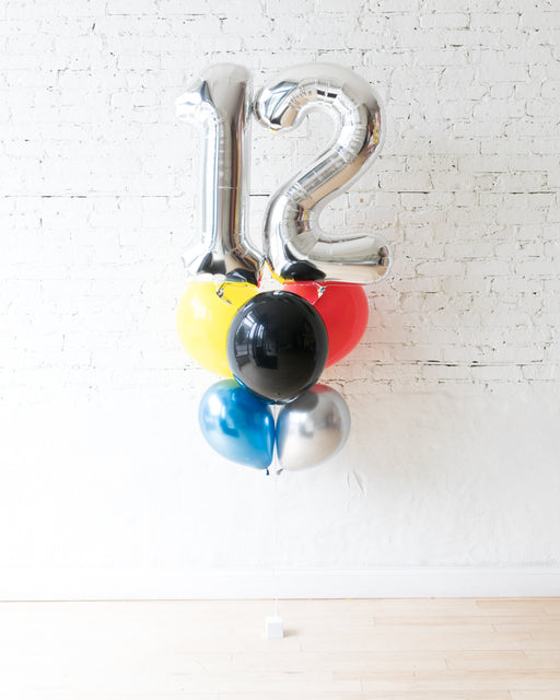 Superhero Theme - Double Digit Foil and Latex Balloon - bouquet of 8