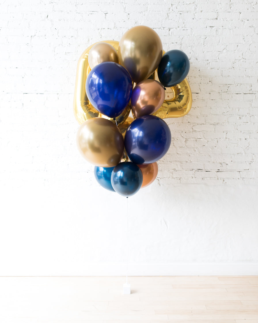 Midnight Copper - Double-Digit Foil and Latex Balloon - bouquet of 13