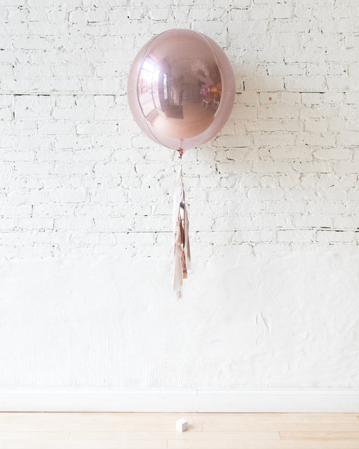 21in Rose Gold Orb Foil Balloon and Shades of Mauve Half-Tassel