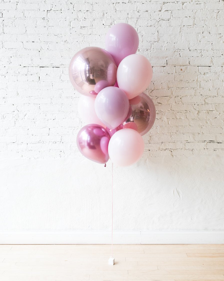 Shades of Mauve Palette Orbs and 11in Balloons - bouquet of 10