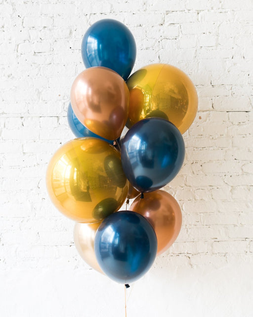 Midnight Copper - Orbs and 11in Balloons - bouquet of 10