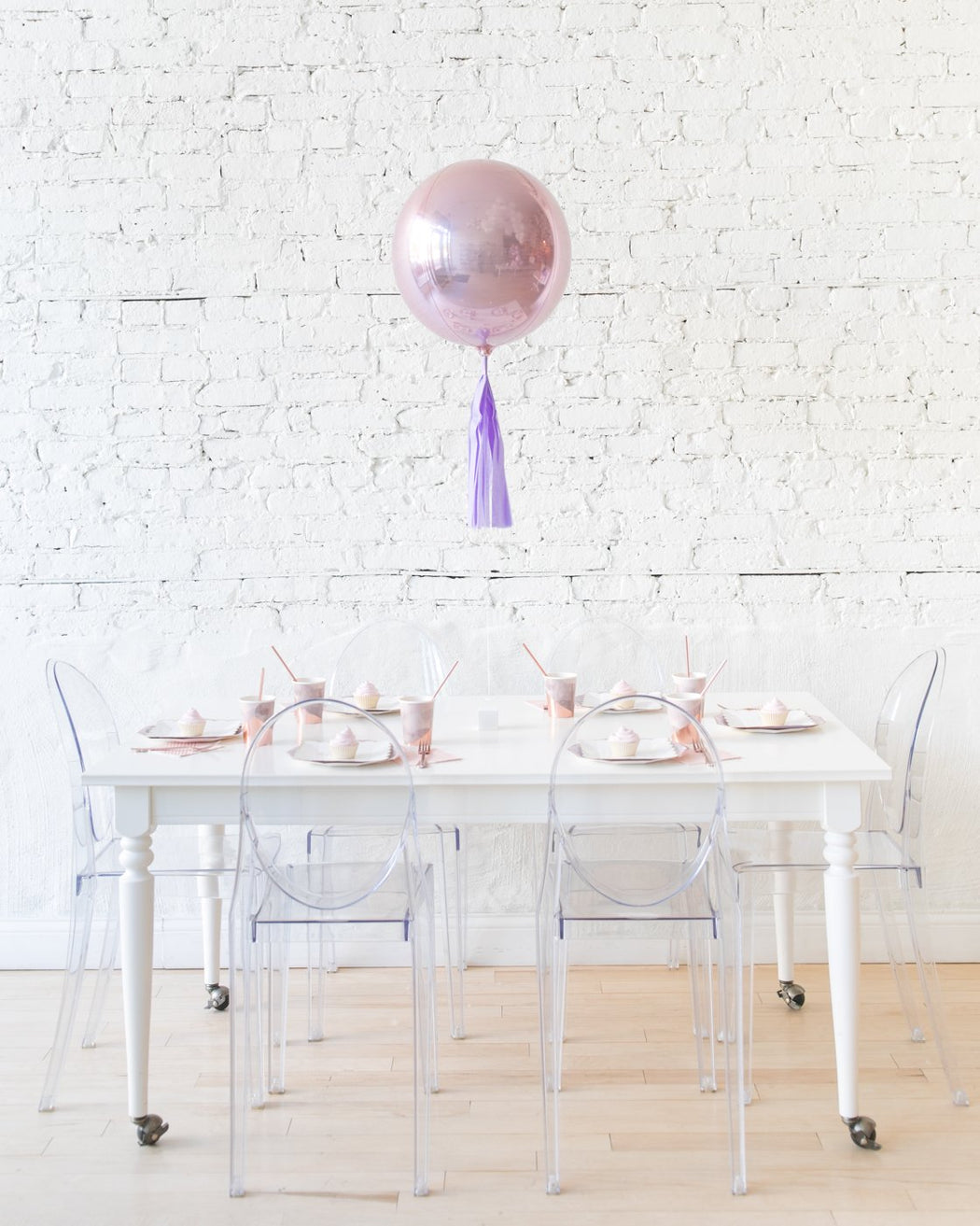 16in Rose Gold Orb Foil Balloon and Lavender Skirt Centerpiece