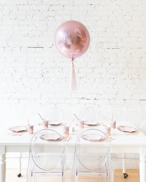 16in Rose Gold Orb Foil Balloon and Mauve Skirt Centerpiece