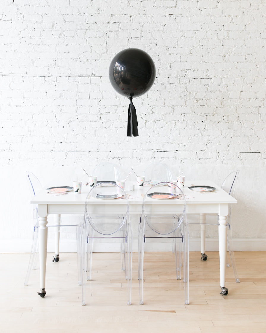 16in Black Orb Foil Balloon with Black Skirt Centerpiece