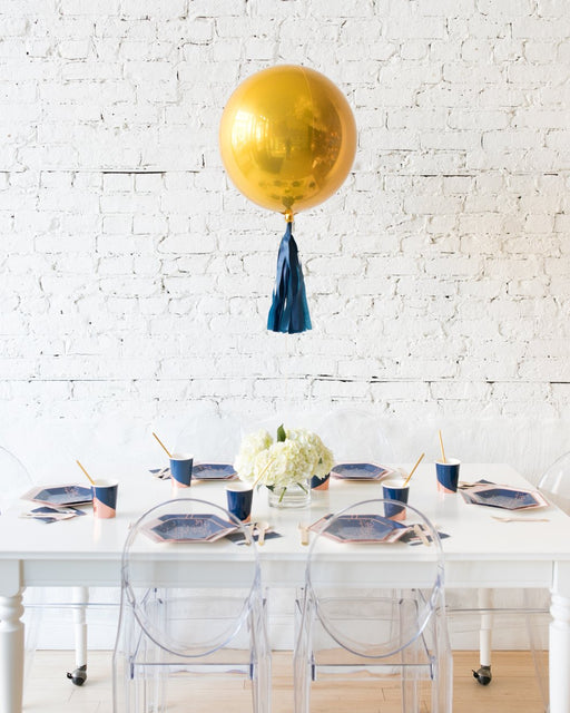 Gold Orb and White Hydrangea Floral Arrangement Centerpiece