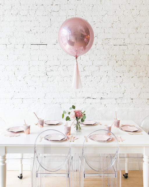 Rose Gold Orb and Mauve Floral Arrangement Centerpiece
