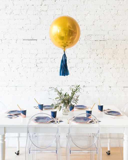 Gold Orb and Eucalyptus Arrangement Centerpiece
