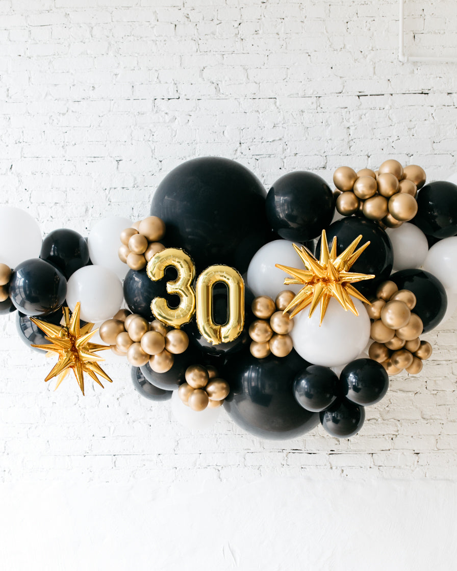 Outdoor Customizable Numbers And Black White Gold Palette Balloon G Paris312
