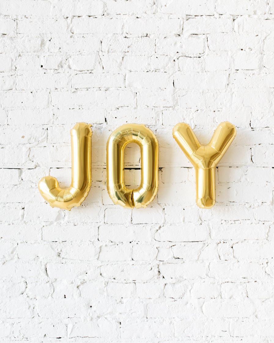 OUTDOOR-16in JOY Gold Foil Balloon Set