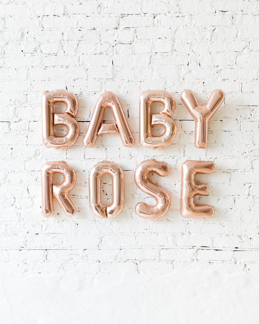OUTDOOR-Customizable 16in BABY NAME Rose Gold Foil Balloon Set
