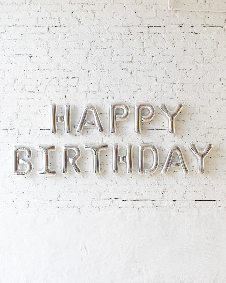 16in Silver HAPPY BIRTHDAY Foil Letters Set