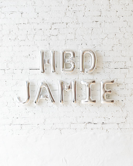 16in Silver Personalized HBD Foil Letters Set