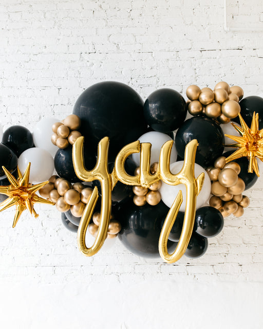 OUTDOOR-YAY Black, White & Gold Palette Balloon Garland
