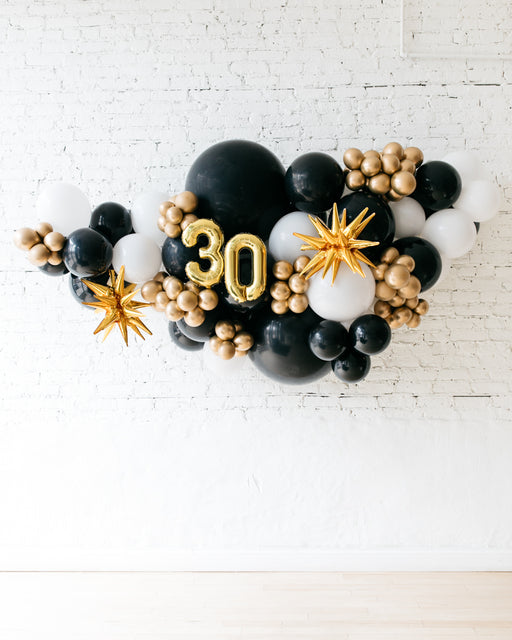 OUTDOOR-Customizable Numbers and Black, White & Gold Palette Balloon Garland