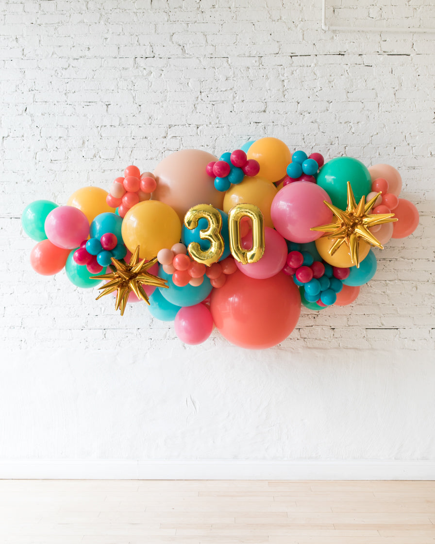 OUTDOOR-Customizable Numbers and Tropical Mix Theme Balloon Garland