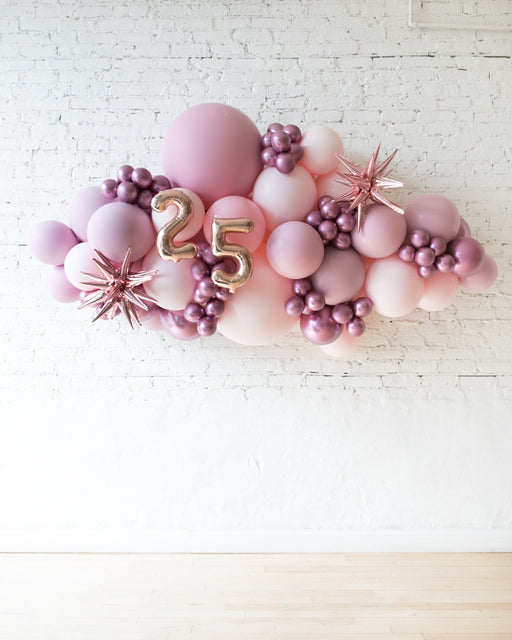 OUTDOOR-Customizable Numbers and Shades of Mauve Palette Balloon Garland