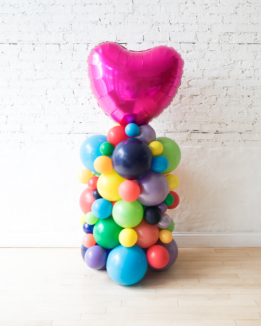 OUTDOOR-Magenta Heart and Rainbow Palette Balloon Column