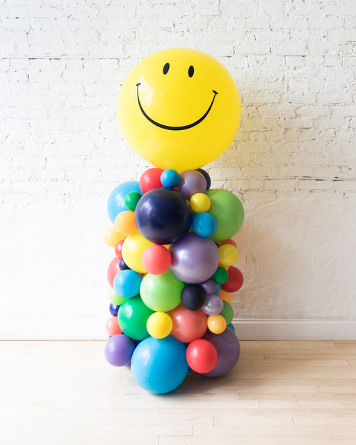 OUTDOOR-Happy Face and Rainbow Palette Balloon Column