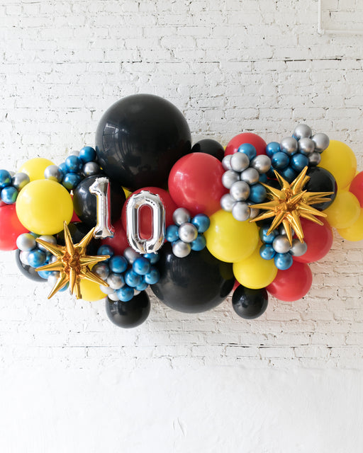 OUTDOOR-Customizable Numbers and Superhero Theme Balloon Garland
