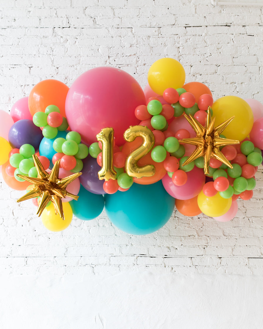 OUTDOOR-Customizable Numbers and Fiesta Palette Balloon Garland