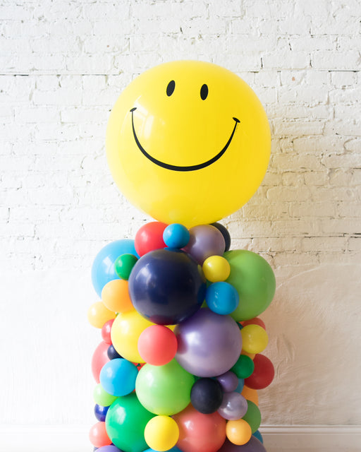 OUTDOOR-Happy Face and Multicolor Palette Balloon Column