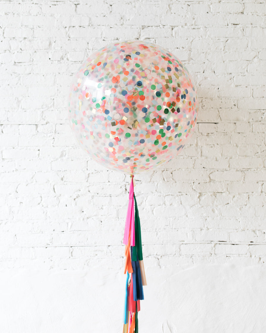 Party Animal Theme - Confetti Giant Balloon with Tassel